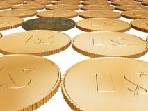 Münzenteppich des Gold 1$ auf Weiß Lizenzfreie Stockfotografie