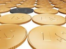 Münzenteppich des Gold 1$ auf Weiß Stockfotografie