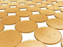 Münzenteppich des Gold 1$ auf Weiß Stockbild