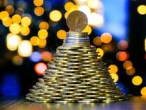 MünzenWeihnachtsbaum stockbild