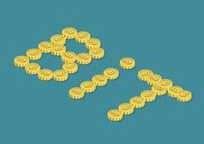 Münzgeld flaches 3d Bitcoin-Wortes STÜCKCHEN isometrisch Stockbild
