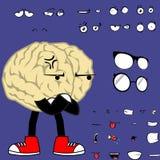 Mürrische Gehirnkarikaturhippie-Artausdrücke eingestellt Lizenzfreie Stockbilder