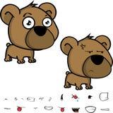 Mürrische Großkopfbaby-Teddybärausdrücke eingestellt Stockfotografie