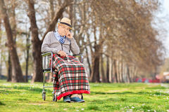 Mürrischer alter Mann, der in einem Rollstuhl im Park sitzt Lizenzfreies Stockbild