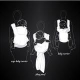 Mütter mit Kindern in einem Riemen auf Schwarzem Lizenzfreie Stockbilder
