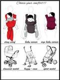 Mütter mit Kindern in einem Riemen und in den Kinderspaziergängern Lizenzfreie Stockfotos