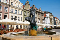 Mąci fontannę, stary Targowy kwadrat poznan Obraz Stock