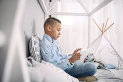 Mądra charyzmatyczna chłopiec co do edukacyjnego wideo Obrazy Stock