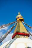 Mądrość ono przygląda się na Boudhanath stupy punkcie zwrotnym Nepal Zdjęcie Royalty Free