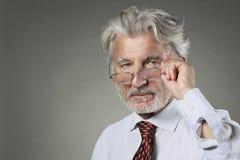 Mądry biznesmen z białym włosy i brodą zdjęcie stock
