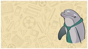 Mądry delfin w zielonym krawacie na tle ilustracji
