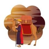 Mądry królewiątko w wielbłądzim żłobu charakterze royalty ilustracja