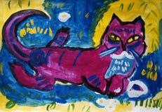 Mądry stary kot malujący dzieckiem ilustracji