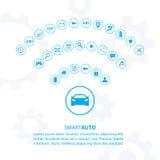 Mądrze auto samochodowy pojęcie z automobilowymi ikonami Fotografia Royalty Free