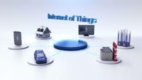 Mądrze dom, fabryka, budynek, samochód, wisząca ozdoba, interneta czujnik łączy ` internet rzeczy ` technologia royalty ilustracja
