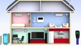 Mądrze dom z energetycznymi skutecznymi urządzeniami ilustracji