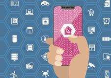 Mądrze domowej automatyzaci pojęcie z ręki mienia bezel uwalnia smartphone Symbole i bezszkieletowy pokaz jako ilustracja Zdjęcia Royalty Free