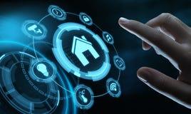 Mądrze domowej automatyzaci system kontrolny Innowaci technologii interneta sieci pojęcie obrazy stock