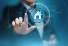 Mądrze domowej automatyzaci system kontrolny Innowaci technologii interneta sieci pojęcie Obraz Royalty Free