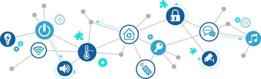 Mądrze domowy projekt: domotics, automatyzacja, pomoc funkcje/budynku/ royalty ilustracja