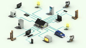 Mądrze 3 domowych urządzeń technologii pojęcia dimensional animacja 2 ilustracja wektor