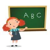Mądrze dziewczyna przedstawia coś przed blackboard royalty ilustracja
