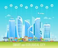 Mądrze i ekologiczny życzliwy miasto Pejzaż miejski, miastowy krajobraz royalty ilustracja