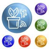 Mądrze ikony ustawiający roślina garnka wektor ilustracja wektor