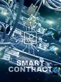Mądrze kontrakt, blockchain technologia w nowożytnym biznesie Obrazy Royalty Free