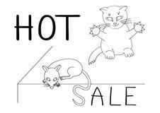 Mądrze kot no brakuje swój szansy łapać myszy ogonem na gorącej sprzedaży humor ilustracja wektor
