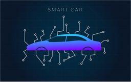 Mądrze lub inteligentny samochodowy wektorowy pojęcie Futurystyczna automobilowa technologia z autonomicznym jeżdżeniem, driverle ilustracji