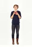 Mądrze młodej kobiety główkowanie Trzymać kubek, Herbaciana kawa zdjęcia stock