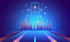 Mądrze miasta futurystyczny pojęcie, ilustracja miastowy krajobraz w ilustracji