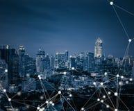 Mądrze miasta i związku linie globalni pojęcie internety zdjęcia stock