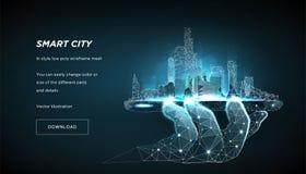 Mądrze miasta niski poli- wireframe Miasto metropolia lub Pojęcie kieruje miasto od telefonu Wektor 3D royalty ilustracja