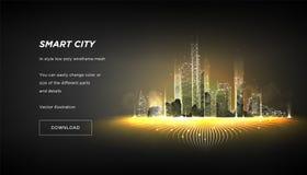 Mądrze miasta niski poli- wireframe Miasto techniki metropolia lub abstrakt cześć Inteligentny budynek automatyzaci systemu bizne ilustracji