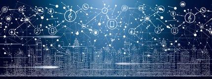 Mądrze miasto z Neonowymi budynkami, sieciami i internetem rzeczy, ilustracja wektor