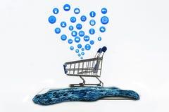 Mądrze pastylka na białym tle z zakupy ikony setem lub telefon Zdjęcie Stock