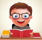 Mądrze preschool chłopiec dzieciaka charakteru wektorowy mienie i czytelnicza książka ilustracja wektor