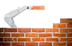 Mądrze robota przemysł 4 (0) ręka ceglanego domu budowy siły ludzkich pilotów zdjęcie royalty free