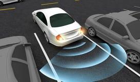 Mądrze samochód parki w parking z parking, Automatycznie Pomaga system, 3D rendering ilustracji
