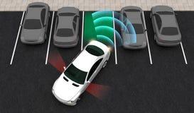 Mądrze samochód parki w parking z parking, Automatycznie Pomaga system, 3D rendering ilustracja wektor