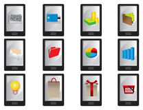 Mądrze telefon komórkowy z biznesowymi ikonami royalty ilustracja
