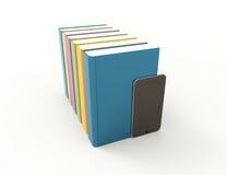 Mądrze telefon - książki Obraz Stock