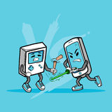 Mądrze telefon Vs Stara Gemowa konsola ilustracji