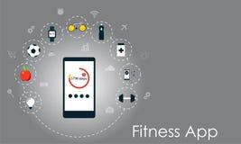 Mądrze telefon z zdrowymi lifesyle ikonami Sprawności fizycznej app wektoru ilustracja Obraz Stock