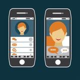Mądrze telefonu zastosowanie z młody człowiek twarzą ilustracji