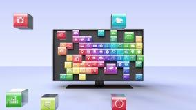 Mądrze TV, rozrywka kanału telewizyjnego zawartość dla muzycznego pojęcia ilustracja wektor