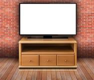 Mądrze tv z pustym ekranem w nowożytnym żywym pokoju zdjęcie royalty free