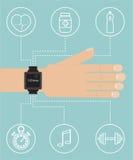 Mądrze zegarek na ręce z sport ikoną Obrazy Stock
